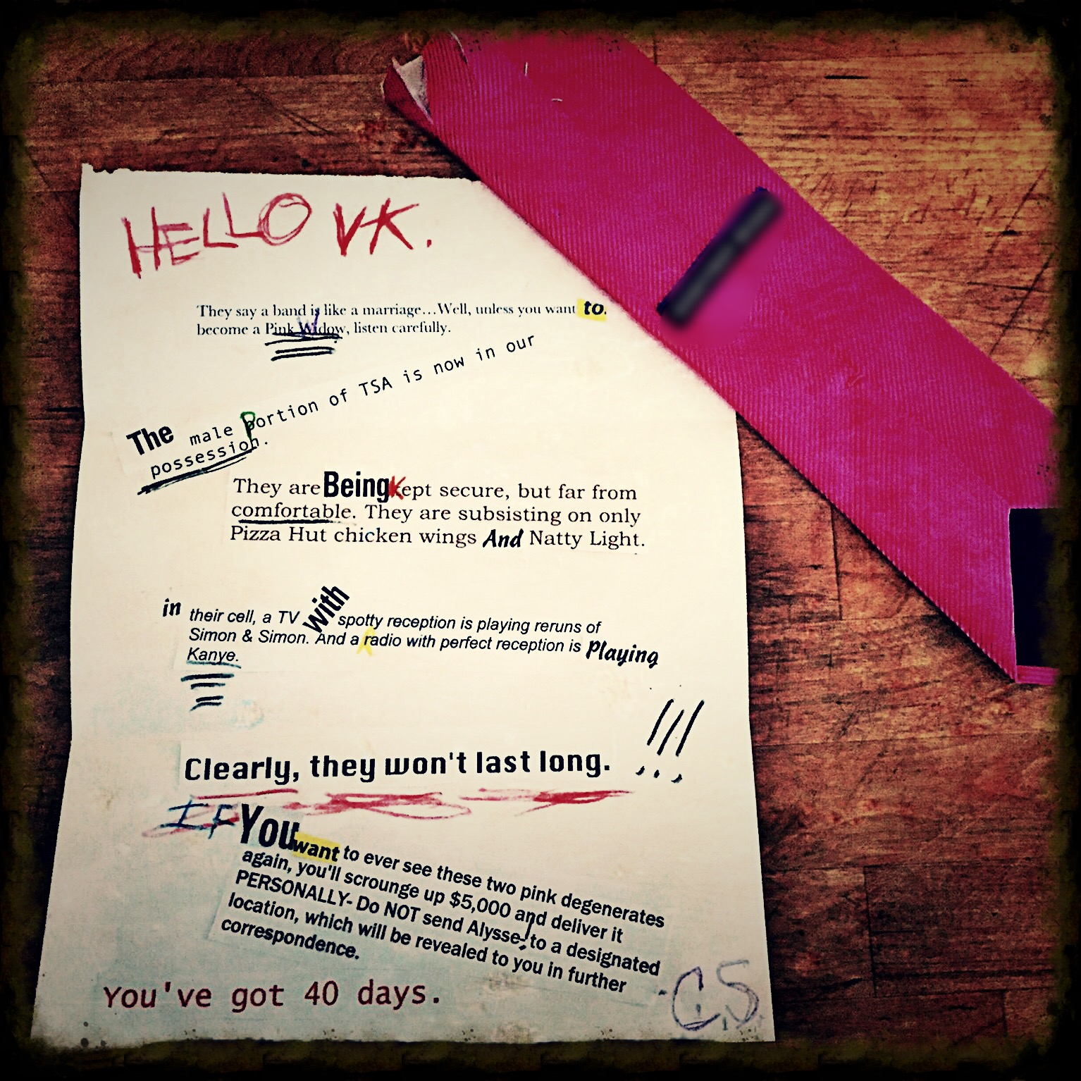 ransom note, abduction, spider story